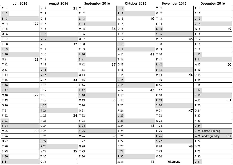 Arskalender 2016 Med Veckonummer | Calendar Template 2016